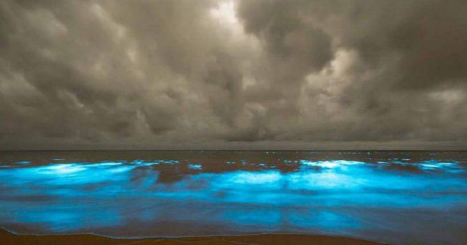 青く輝く海