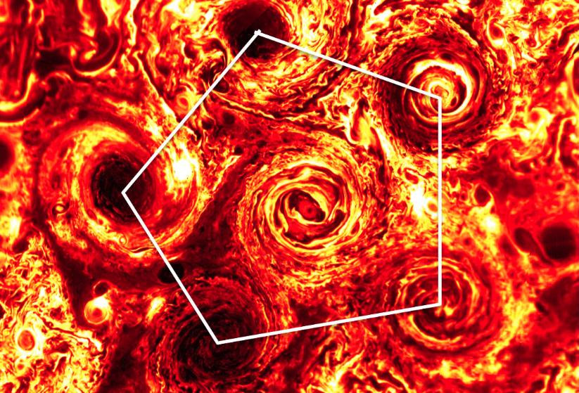 木星南極の「五角形」の嵐、気づいたら「六角形」になっていた?
