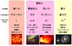 物理が定める自然界の4つの力と、それを伝える素粒子。