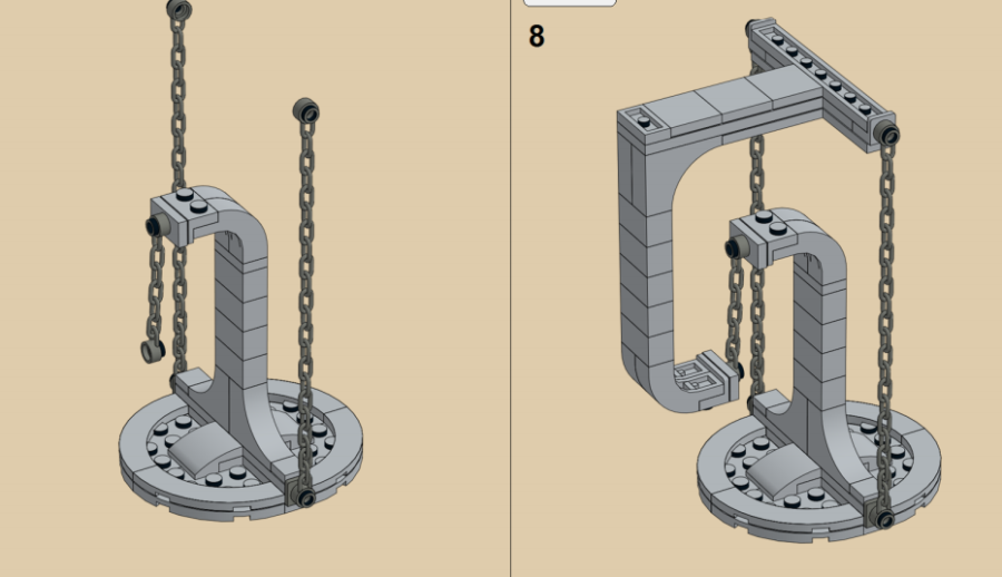 テンセグリティ構造をつくる2つのブロックをチェーンで繋ぐ