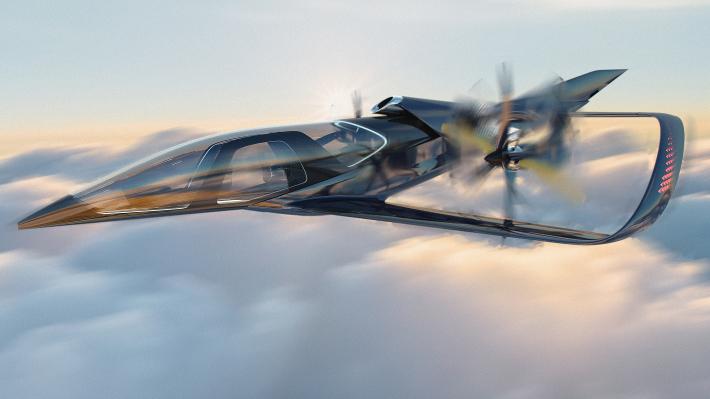 一面「ガラス張り飛行機」のデザイン公開! 地上ではクルマに変形する夢の機体