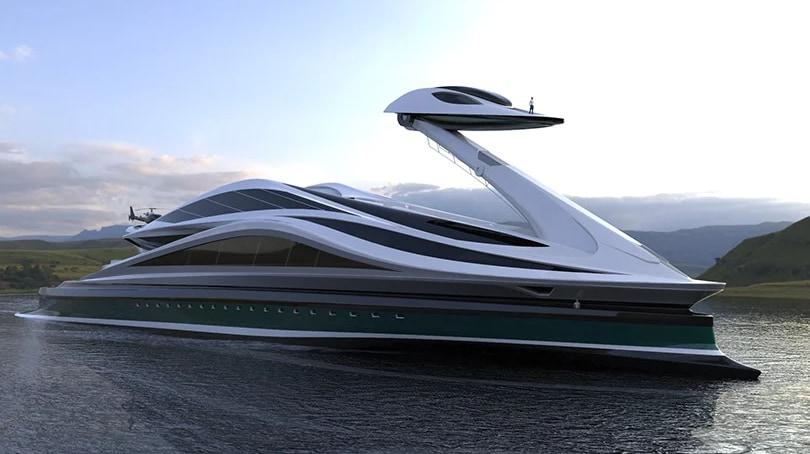 超巨大なスワンボート!?全長134メートルの「白鳥型メガヨット」が美しい