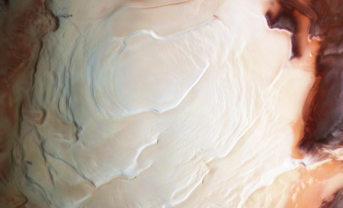 マーズ・エクスプレスによる火星南極の画像。