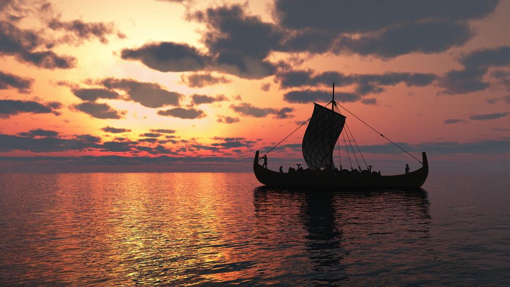 舟、夕日、海