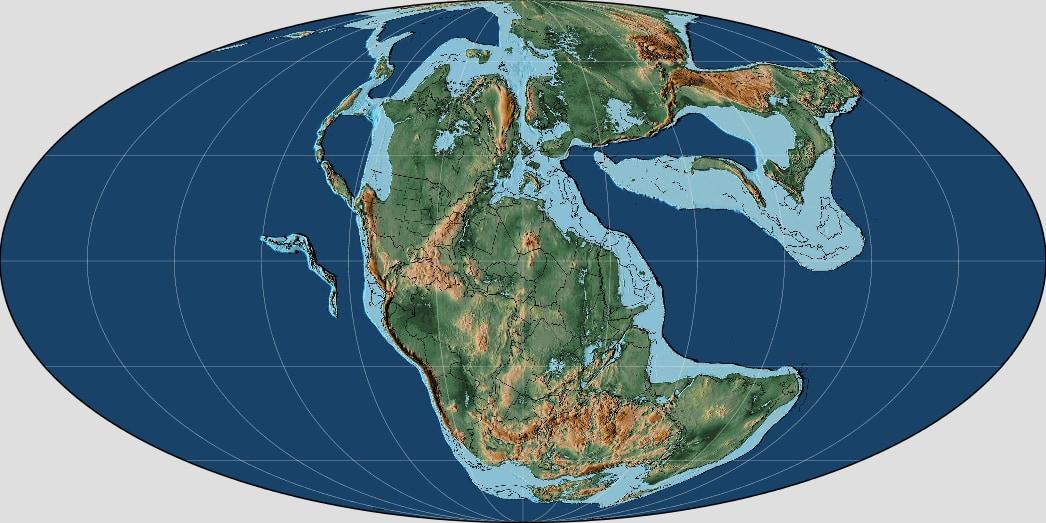 三畳紀後期の世界地図。
