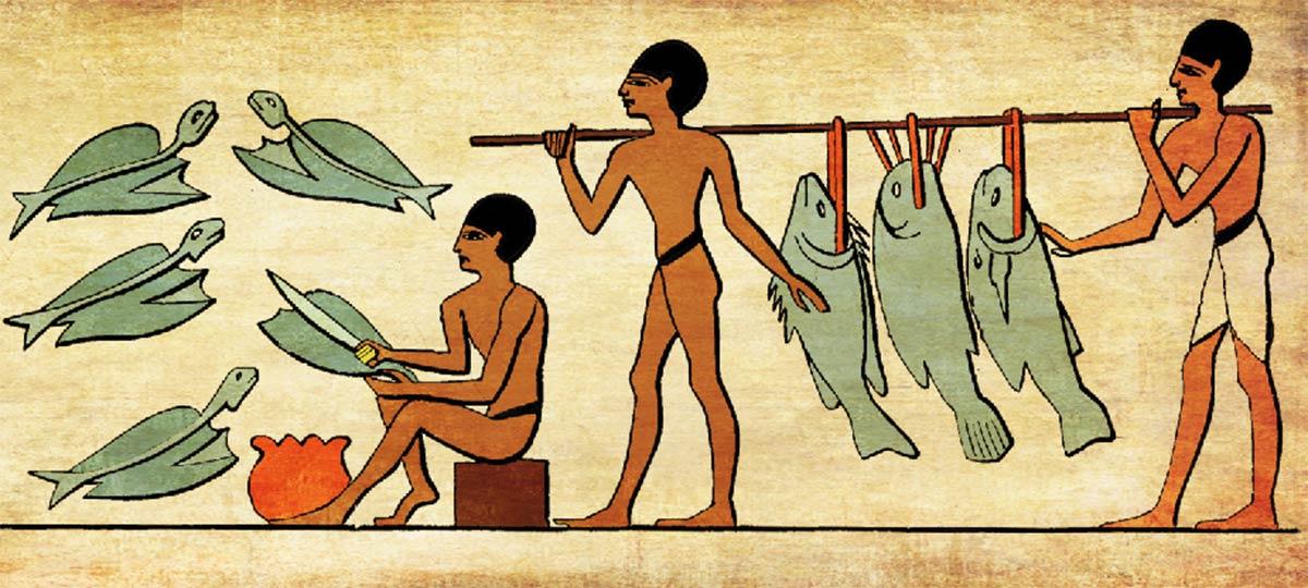 ティラピアを調理する古代エジプト人(イメージ)
