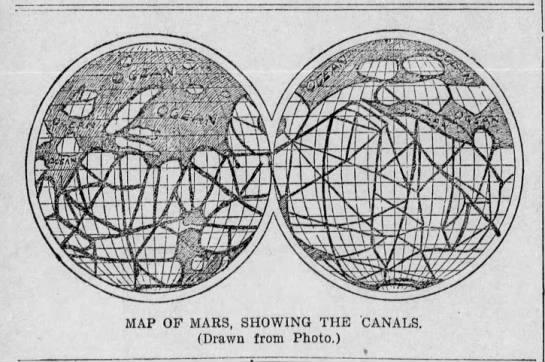 想像から、かなり細かく描かれた「火星の運河」