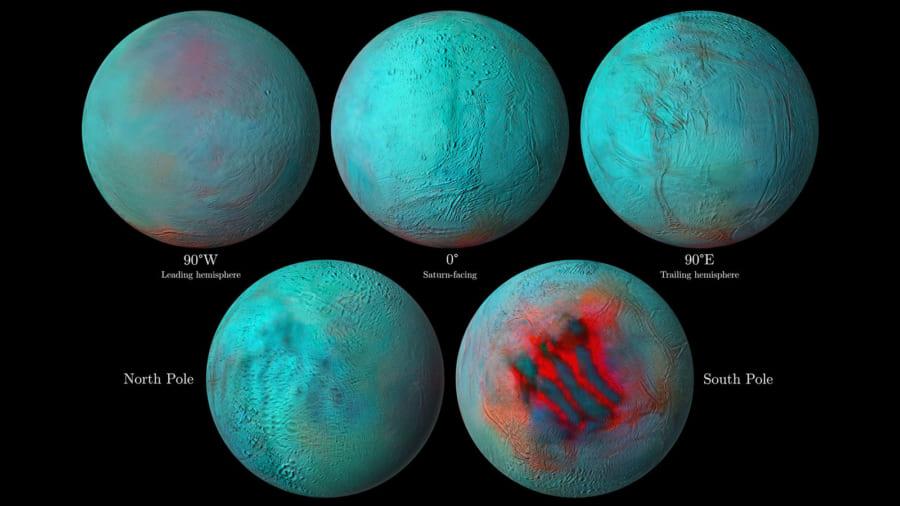 土星の月エンケラドゥスの北半球に「新鮮な氷」があると判明。地質学的な活動が続いている可能性あり