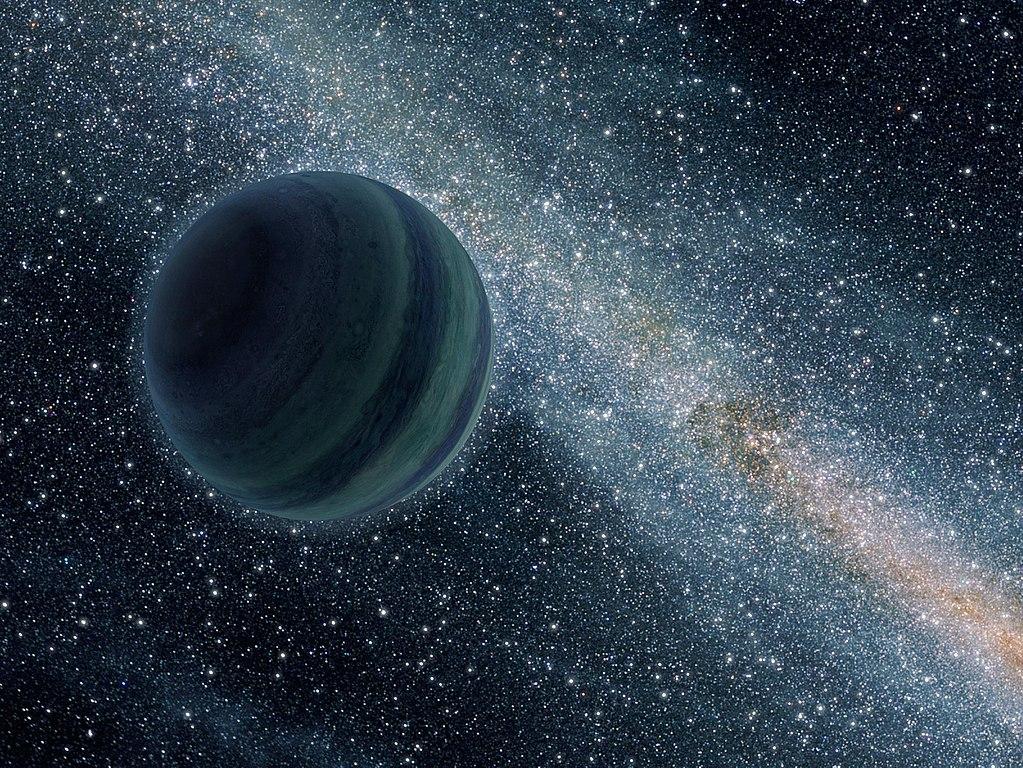 木星サイズの自由浮遊惑星のコンセプトアート。