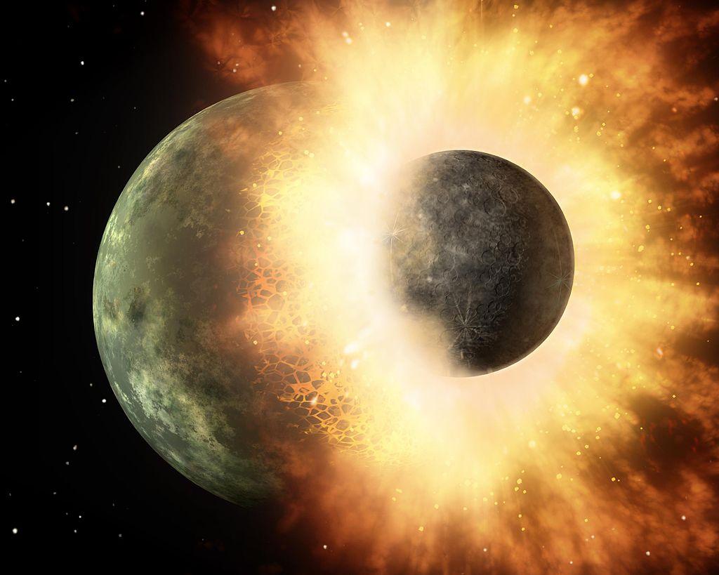 テイアが初期地球に衝突したアーティストイメージ。