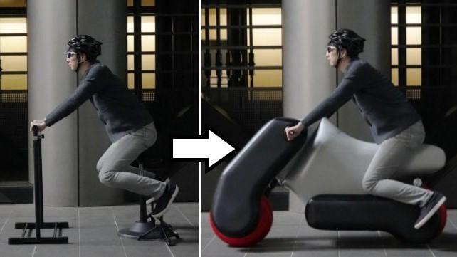 """「たためる風船電動バイク」が登場!""""ポーズをとるだけ""""で姿勢に合ったカスタムメイドが可能"""