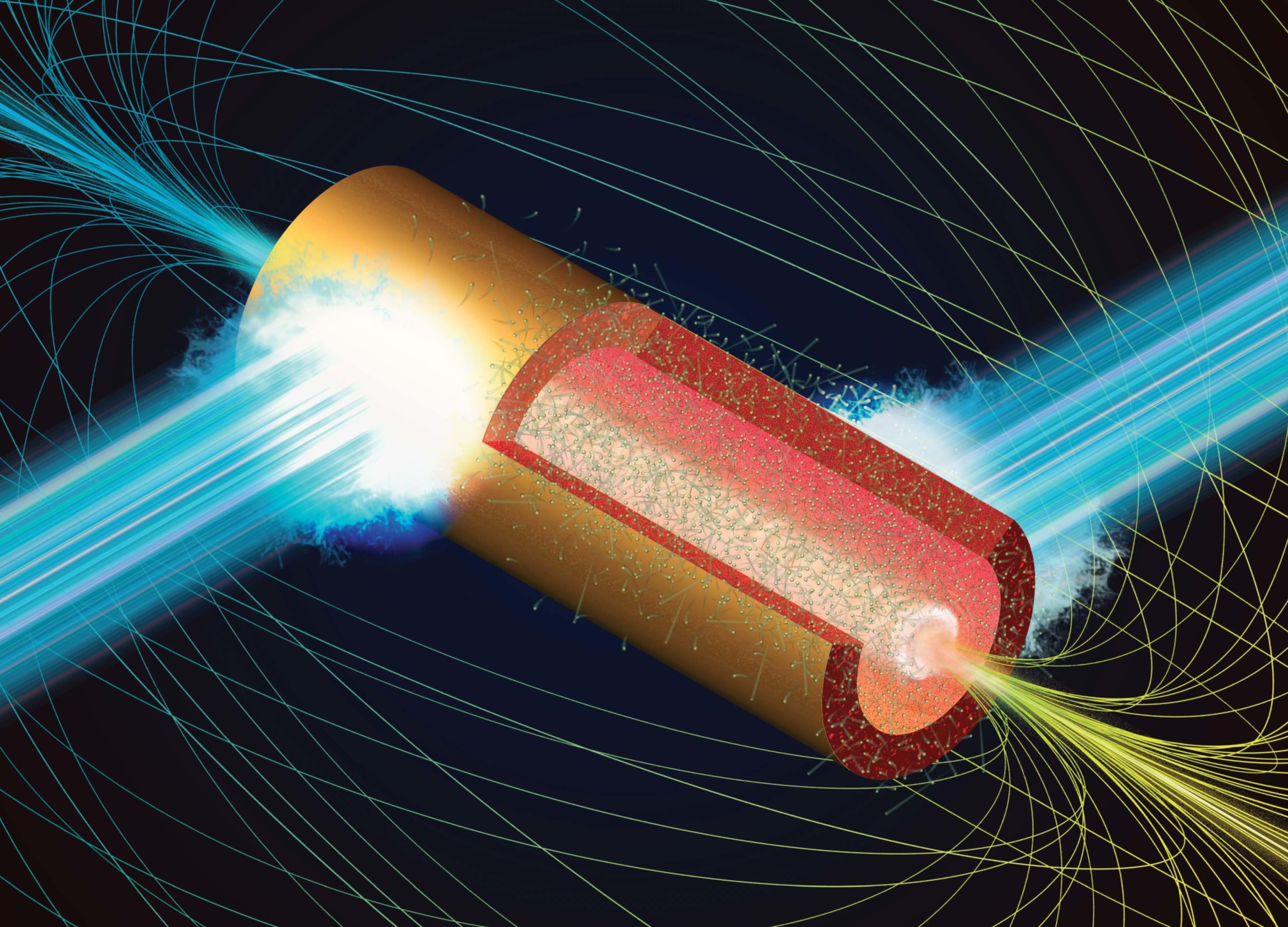 マイクロチューブに強力なレーザーパルスを照射する説明図。