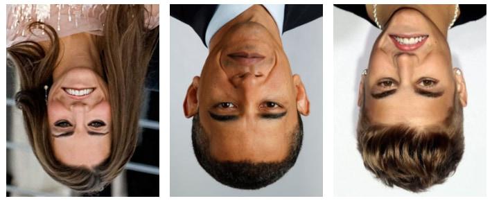 有名人のサッチャー錯視。左からケイト・ミドルトン、オバマ大統領、ジャスティン・ビーバー。