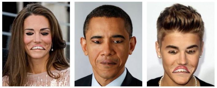 目と口を逆さに加工した画像。