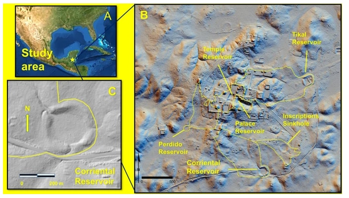 調査されたティカル遺跡の地図。右の地図の下部にあるのがコリエンタール貯水池。
