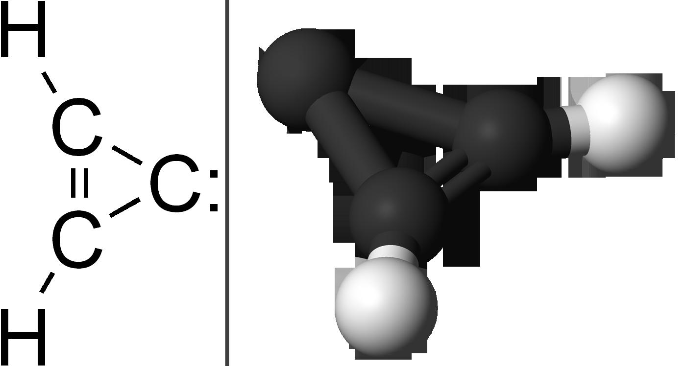 シクロプロペニリデンの分子構造。