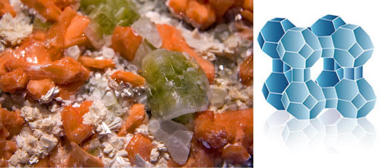ゼオライトの結晶を含んだ砂のイメージ(左)、今回の研究で発見されたものではない。代表的なゼオライトの骨格構造(右)