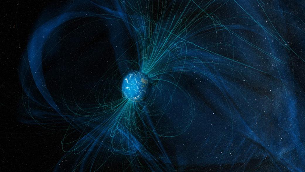 現在の地球圏の磁力線を描いたもの。月には磁場はありません。