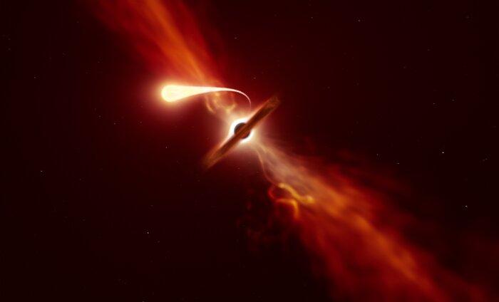ブラックホールに吸い込まれスパゲッティ化する星のイメージ。