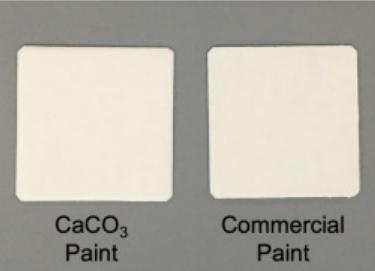 (左)新しい炭酸カルシウム塗料(右)従来の市販塗料