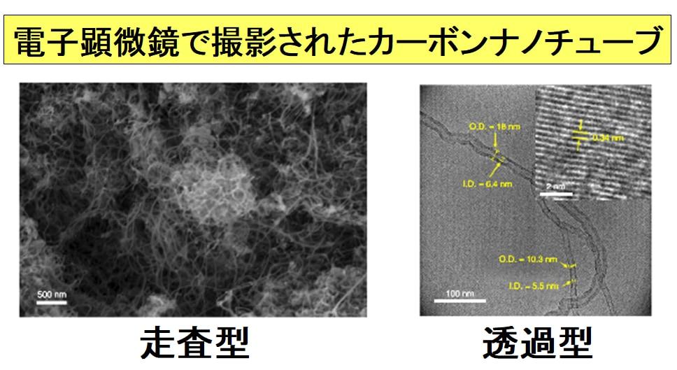 プラスチックから電子レンジでつくられたカーボンナノチューブの電子顕微鏡写真。作られたカーボンナノチューブは複数の炭素層が重なった多層型である。