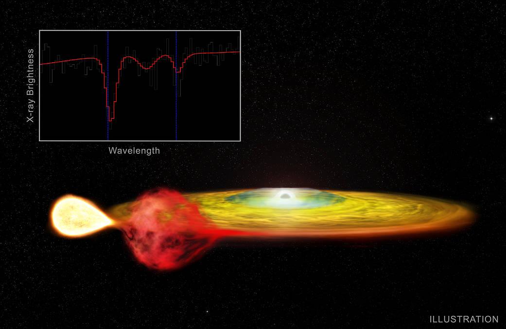「4U 1916-053」星系のイメージ。円盤の中心は中性子星で、この近くのガスから放たれたX線は重力赤方偏移を起こしている。