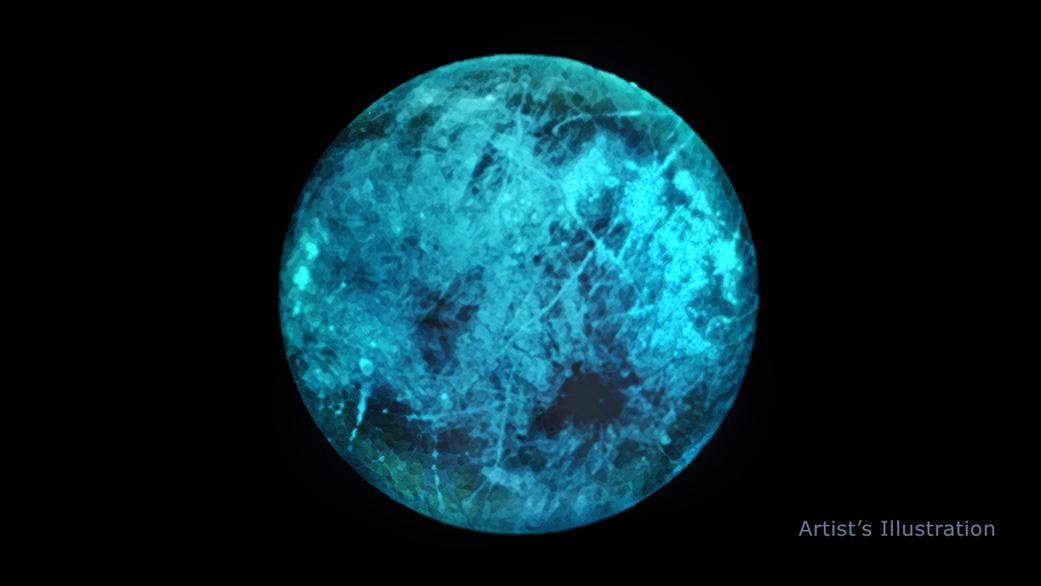 エウロパが太陽に背を向けた裏側でどのように光っているかを示した画像。