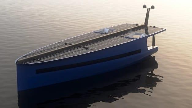 """""""帆とソーラーパネルだけ""""で進む「燃料の必要ない船」が設計される! 帆船と太陽光発電のいいとこ取りを実現"""
