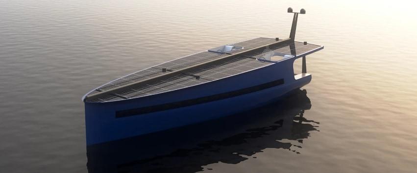 太陽光発電と帆で航行する「P1」
