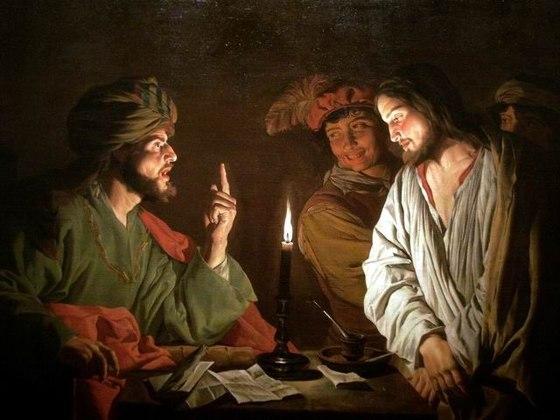 カイアファ(左)の前に立つイエス(右)
