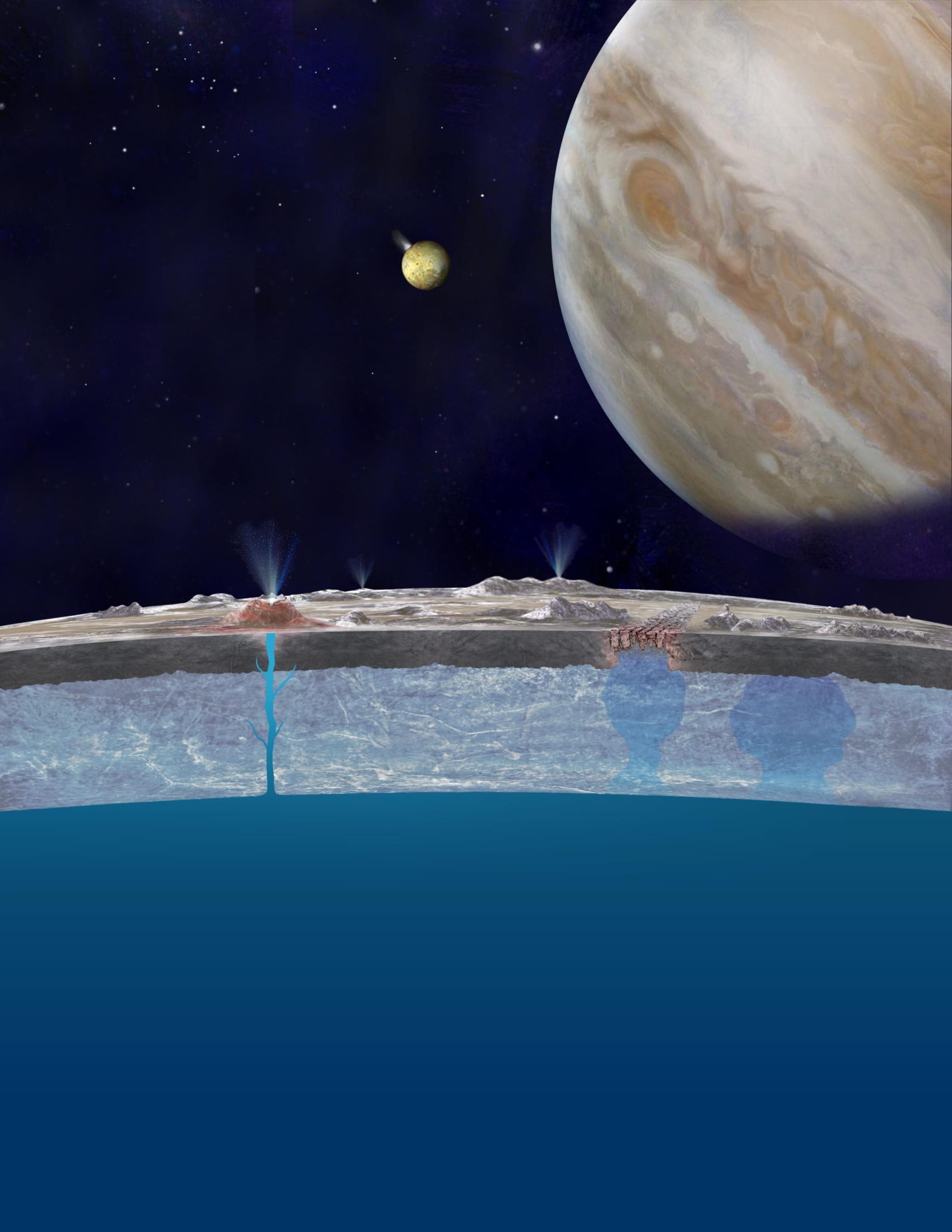 エウロパの表面と地下に隠された海の想像図。
