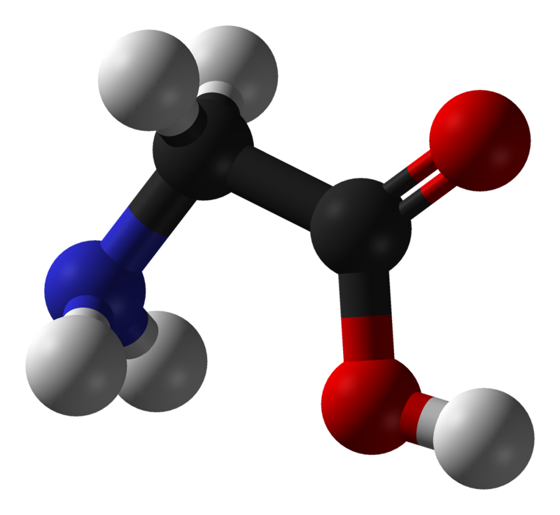 グリシンの分子立体モデル。