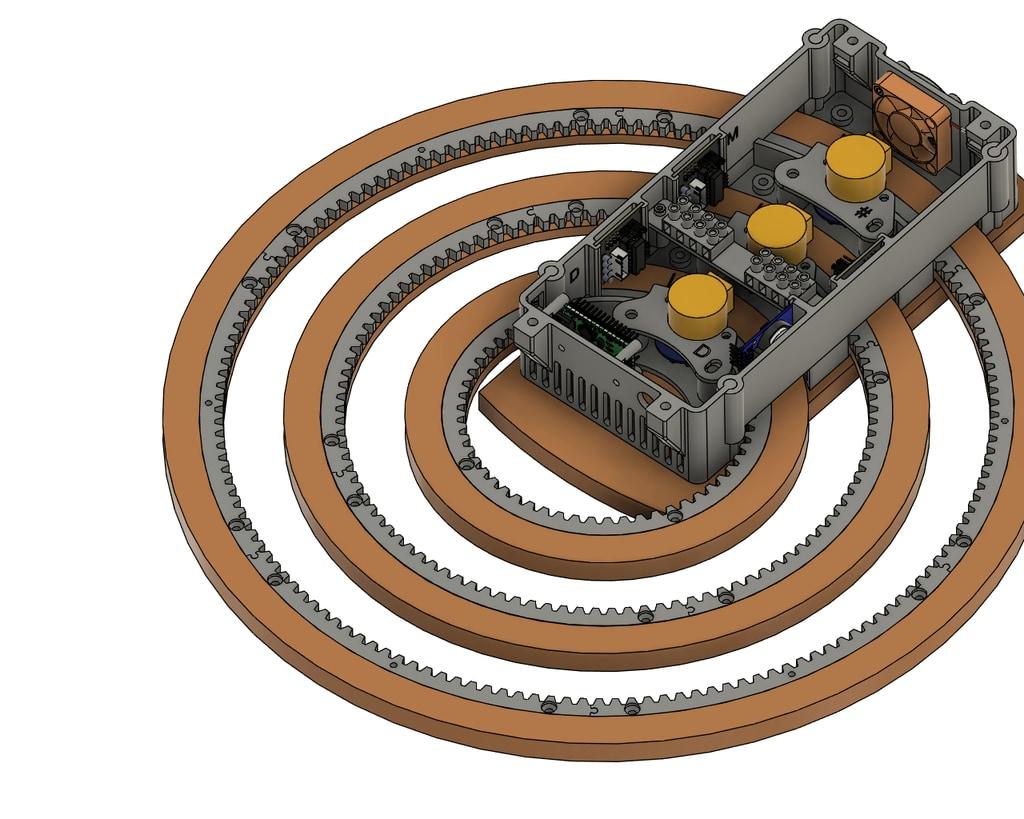 モーターで歯車が回転する