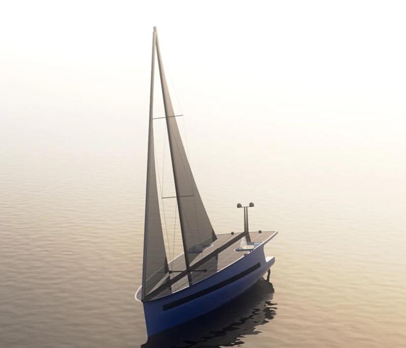 帆は風を、ソーラーパネルは太陽光を活用する