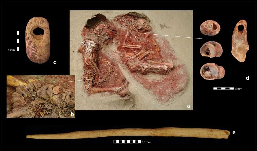 中央が「一卵性双生児」の遺骨、周囲は副葬品