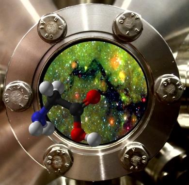 実験室で再現された暗い星間雲とそこで形成されるグリシンのイメージ。