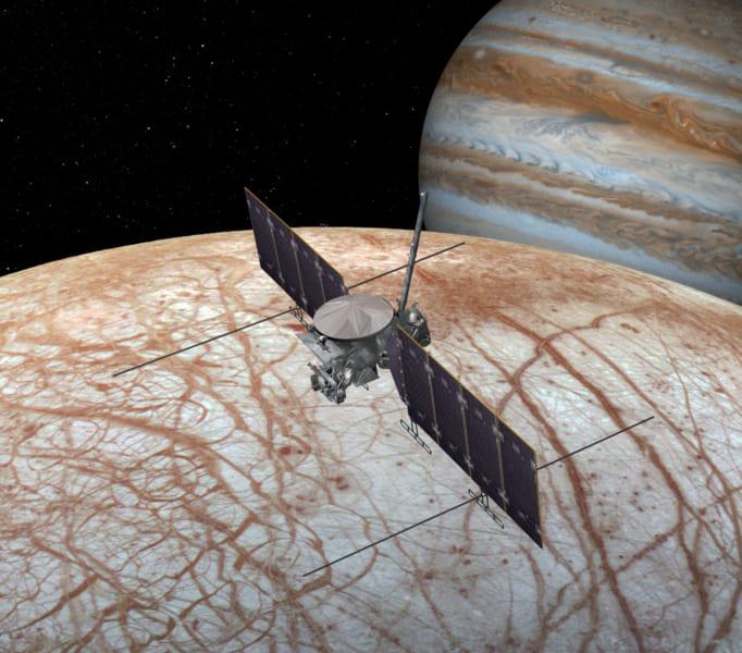 木星衛星エウロパの探査機「エウロパ・クリッパー」のイメージ画像。