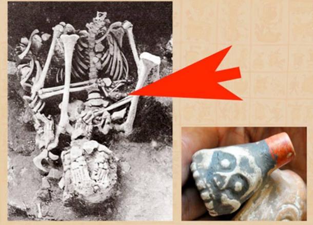 最初に見つかった「死の笛」、左は男性の遺骨