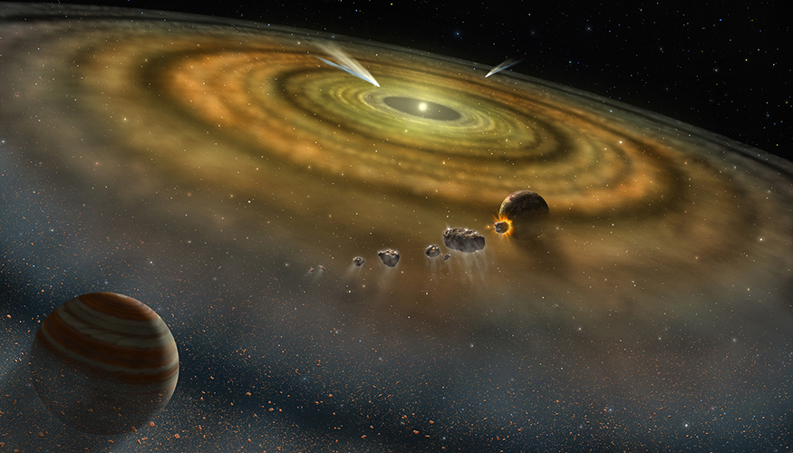 形成されつつある星系の原始惑星に隕石が膠着している様子。