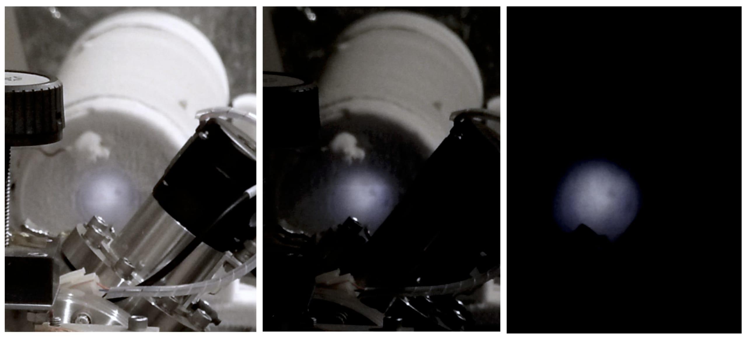 実験の様子。MeVの電子をエウロパ表面氷に似せたサンプルに当てている。このとき氷はくらい中でも輝きを放つ。