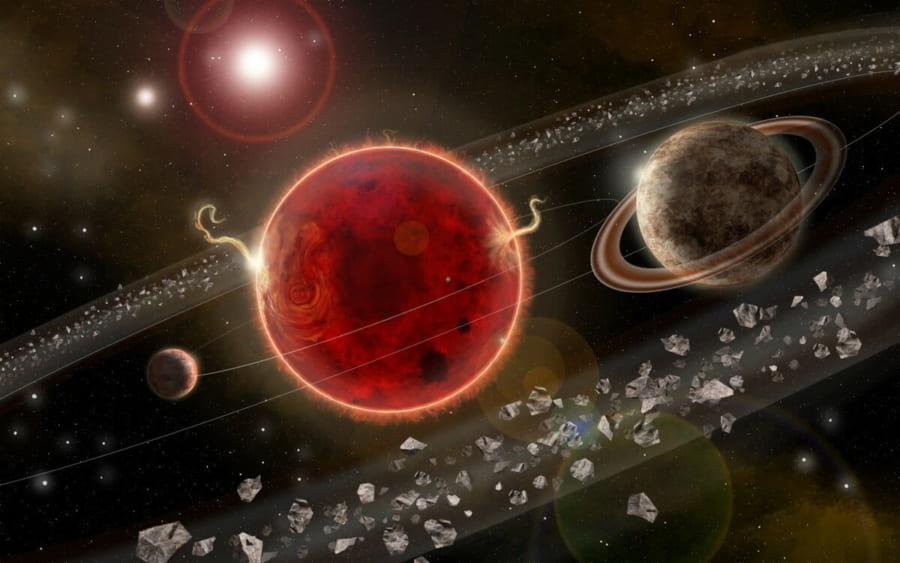 2つの惑星を持つプロキシマ・ケンタウリのアーティストイメージ。