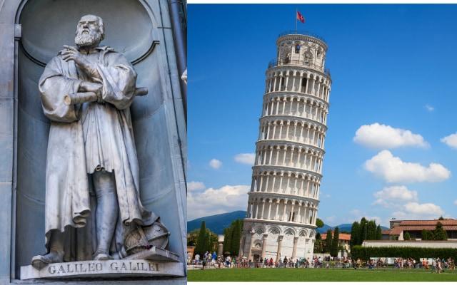 ガリレオ・ガリレイ(左)とピサの斜塔(右)。