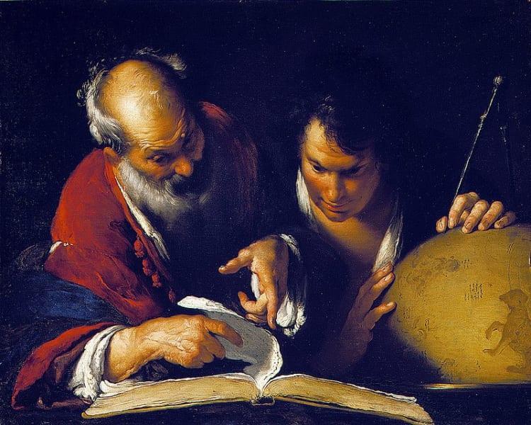 ベルナルド・ストロッツィ作。「アレクサンドリアで教授するエラトステネシス」(1635)