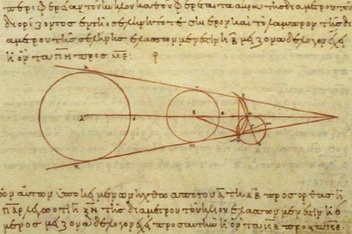 アリスタルコスの『太陽と月の距離と大きさについて』の写本。