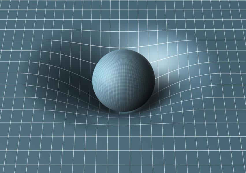 2次平面を使って重力を説明する時、なぜか3次元空間で働く重力の存在が必要になってしまう。