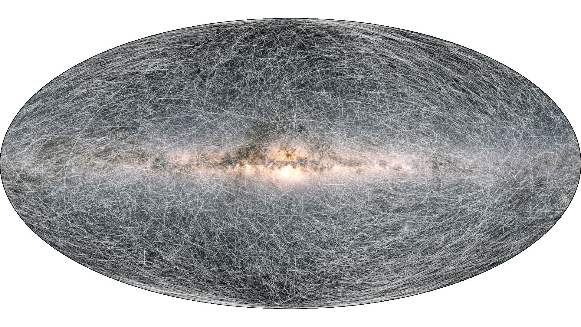 太陽から100パーセク内にある4万の星の今後40万年間の移動の軌跡を表示した宇宙地図。