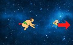 無重力空間で軽い子供と重いお相撲さんが押しあえば、子供だけ大きく弾かれることになる。