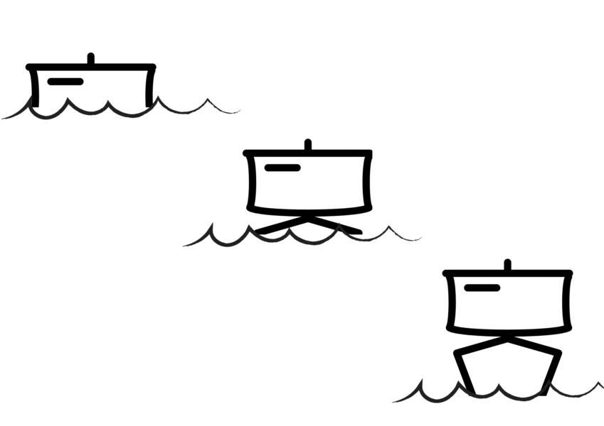 水平線の向こうからやってくる帆船の見え方。