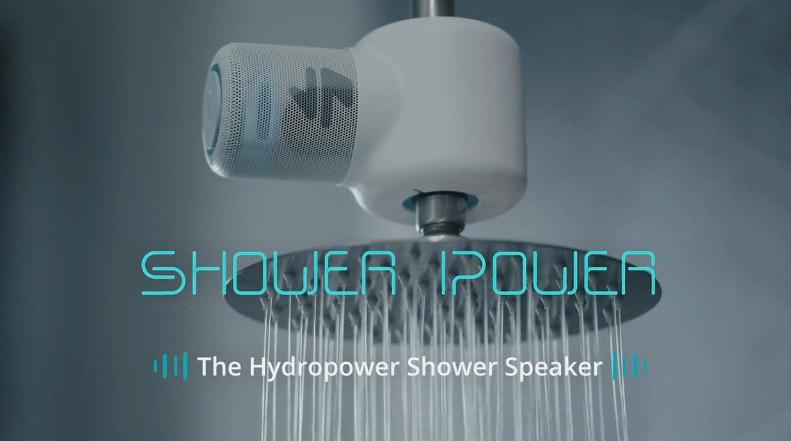 「シャワーで水力発電する」スピーカー、充電せずに浴室で音楽が聞ける!