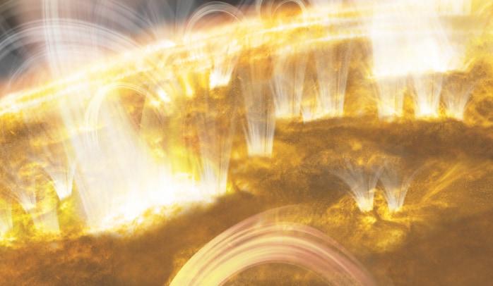 ナノフレアを起こす太陽の想像図。